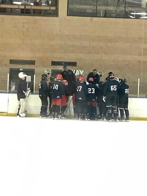 group huddle at bench